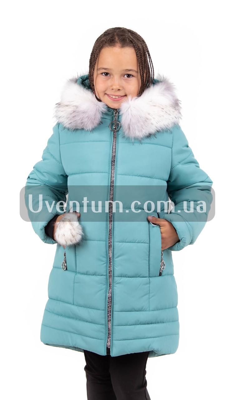 Зимние куртки для девочки  с  мехом  34-42 бирюза