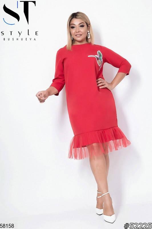 Красное нарядное платье больших размеров, фото 2