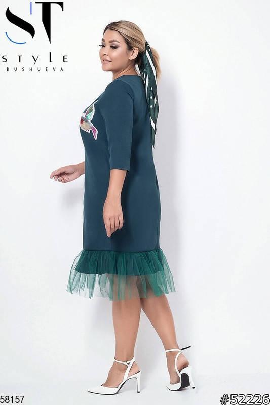 Женское нарядное платье больших размеров зеленое, фото 2