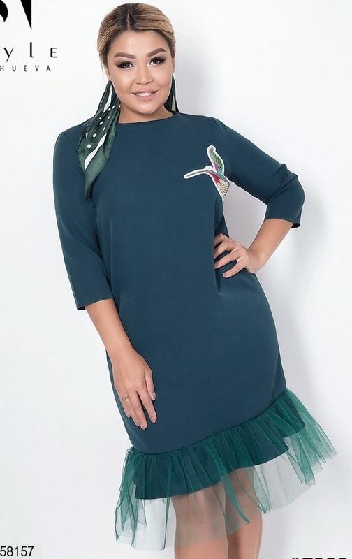 Женское нарядное платье больших размеров зеленое