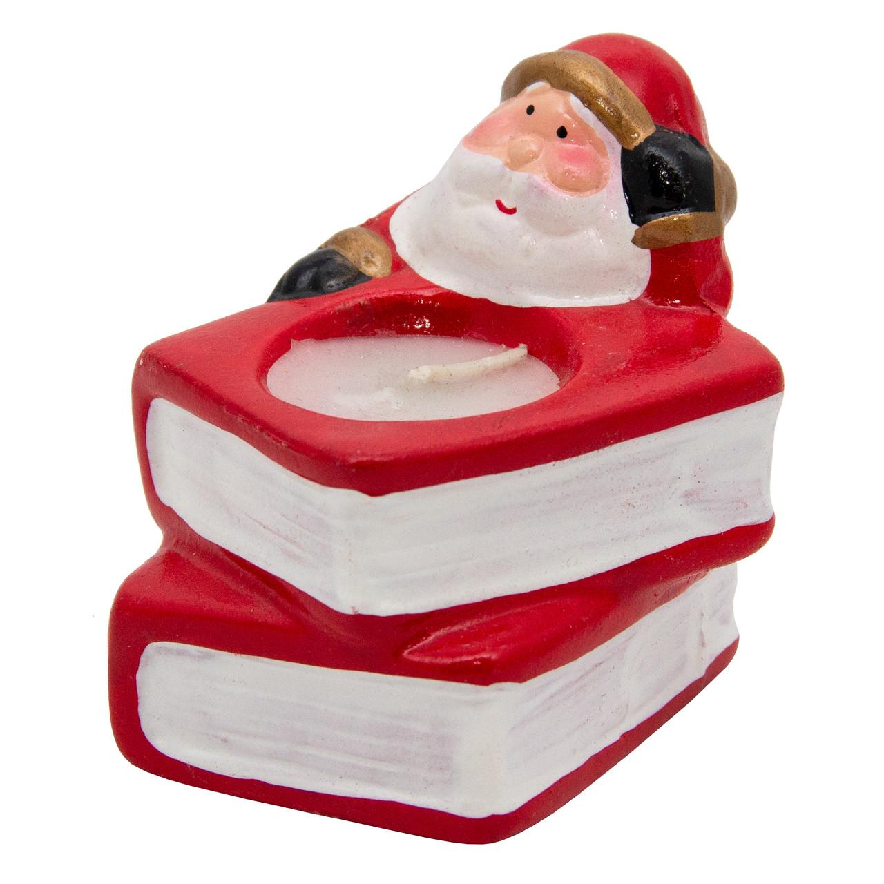 Подсвечник - Дед Мороз с книгами со свечой, 8*7,5*6,5 см, красный с белым, керамика (790111-1)