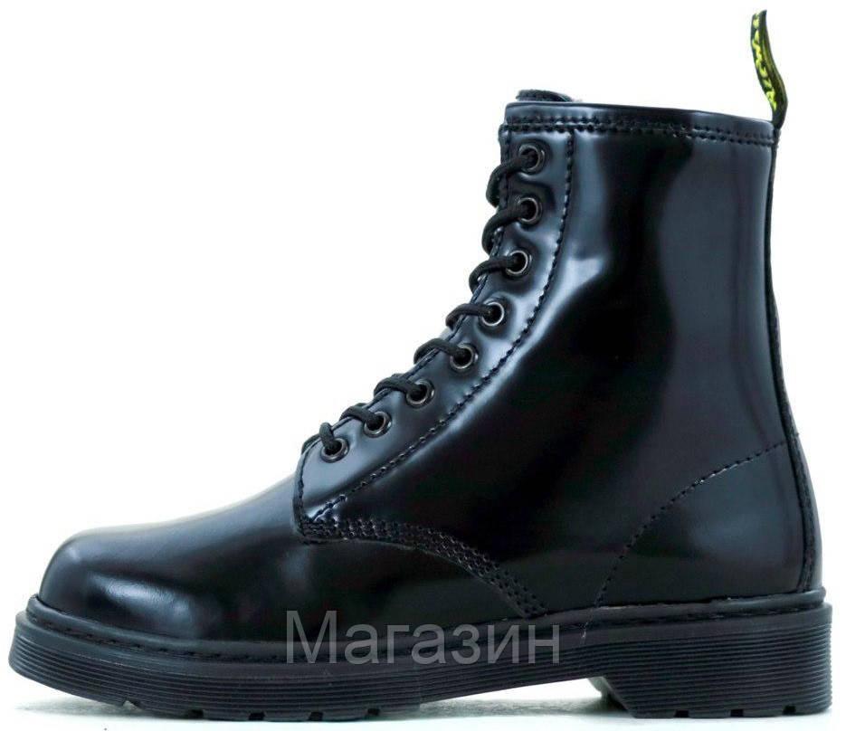 Зимние женские ботинки Dr. Martens 1460 Black Доктор Мартинс С МЕХОМ черные