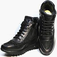 Кожаные сникерсы ботинки женские черные Evromoda