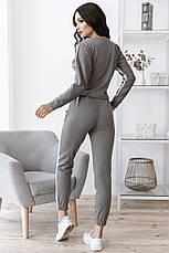 Комфортный прогулочный костюм тройка юбка-штаны-кофта, №151, серый, фото 3