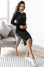 Комфортный прогулочный костюм тройка юбка-штаны-кофта, №151, чёрный, фото 3