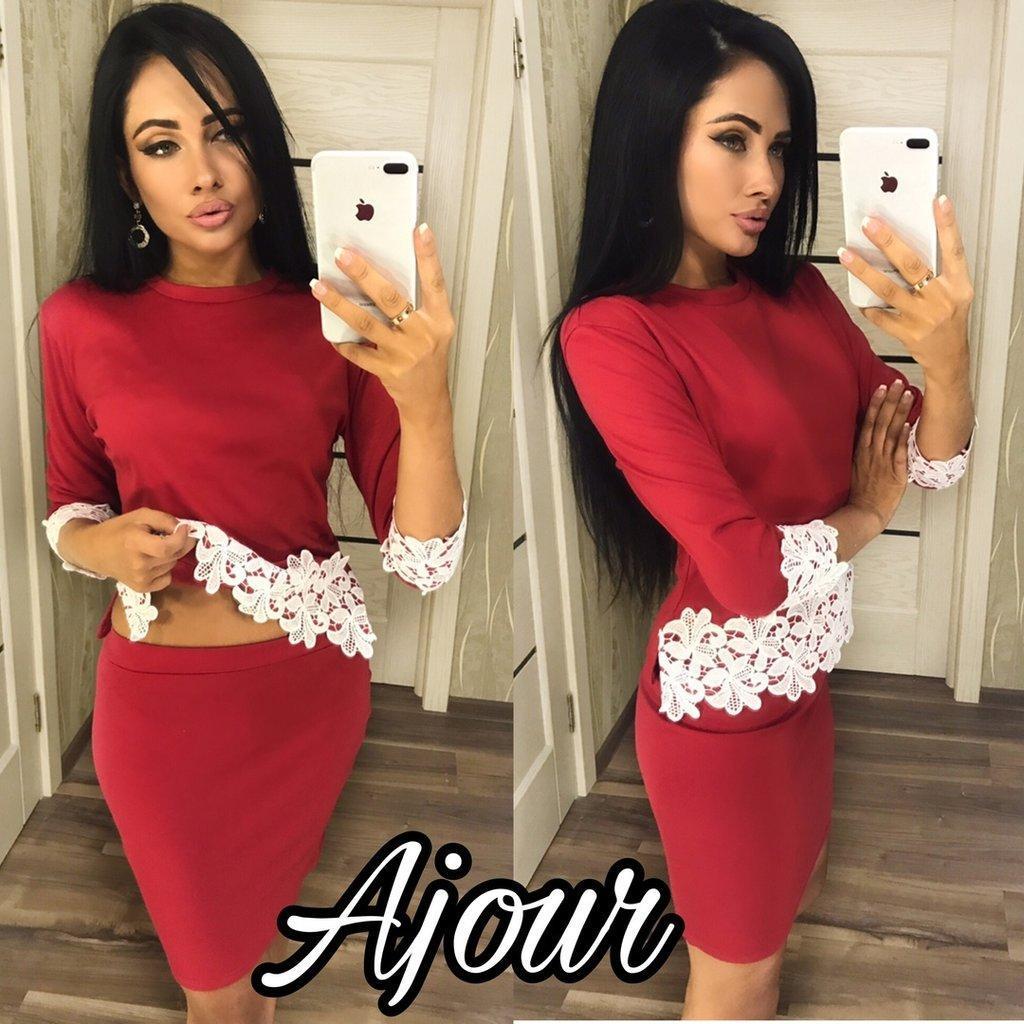 Костюм двойка юбка мини +  блузка туника з кружевом Ажур