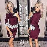 Костюм двойка юбка мини +  блузка туника з кружевом Ажур, фото 4