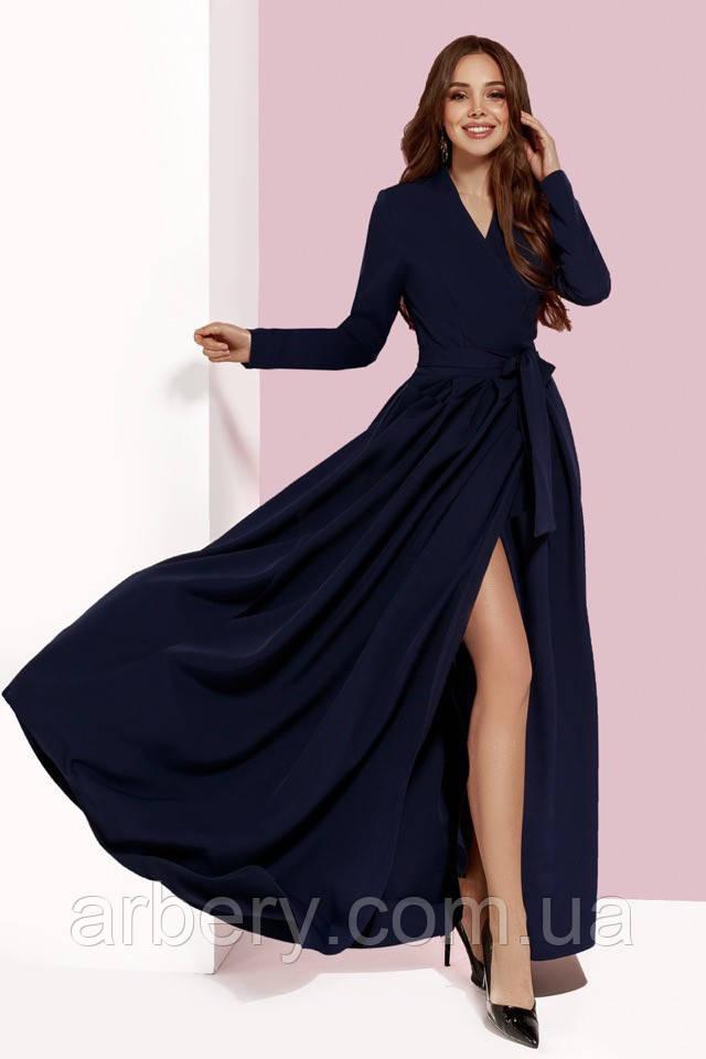 Женское модное платье в пол на запах