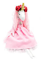 М'ягка іграшка ручної роботи «Єдиноріг», світло-рожева сукня