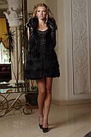 Меховой жилет жилетка-полушубок из черной лисы Рукава съемные Fox fur vest&coat in black , фото 1