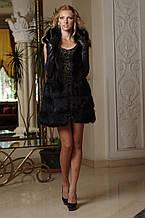 Хутряний жилет жилетка-кожушок з чорної лисиці знімні Рукави Fox fur vest&in black coat