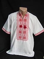 Нарядная мужская вышиванка с коротким рукавом на белом дом.полотне, 44-60 р-ры, 420/390 (цена за 1 шт. + 30 г)