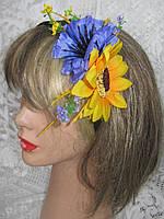 Обруч с цветами василька и подсолнуха (35/30) (цена за 1шт. +5 грн), фото 1