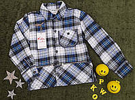 Рубашка детская, р. 116-122, клетка, синий+белый