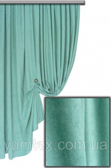 Ткань для штор портьер, римских штор покрывал плотный микровелюр или вельвет Пальмира цвет бирюзовый
