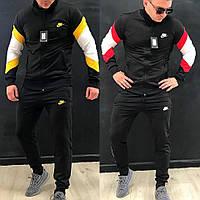 Мужской спортивный костюм черный с бело-красными вставками черный с бело-желтыми вставками 46 48 50 52