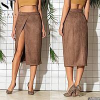 Замшевая юбка миди женская с запахом 30229