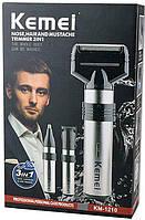 Аккумуляторная машинка для стрижки волос и бороды 3 в 1 триммер бритва Kemei KM-1210, фото 1