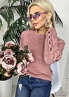 Вязаный свитер, рукава украшены  косичкой с вкраплениями жемчуга. цвет- пыльная роза,черный,бордо,белый