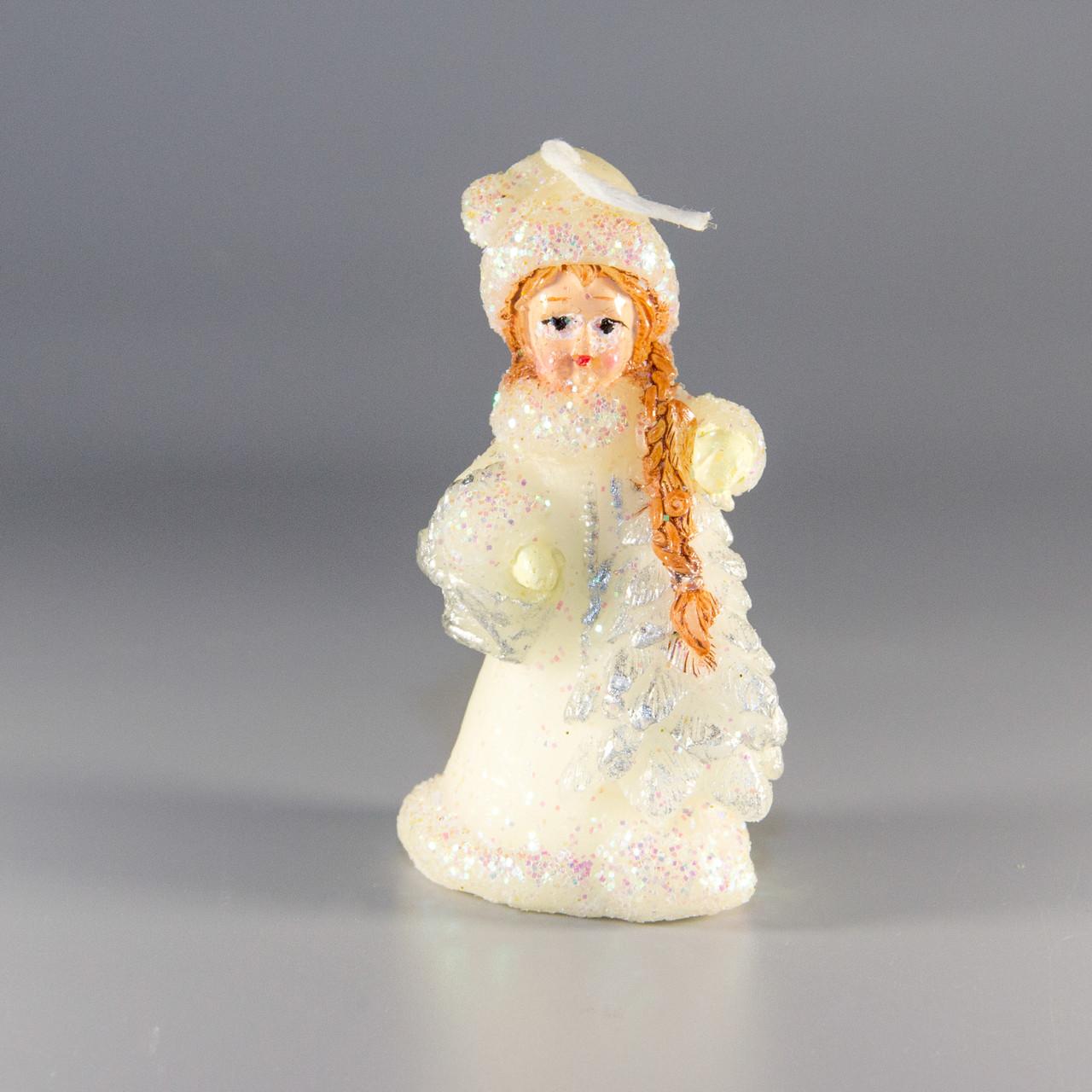 Свечка - Снегурочка с елкой, 7 см, белый, воск (790982-1)