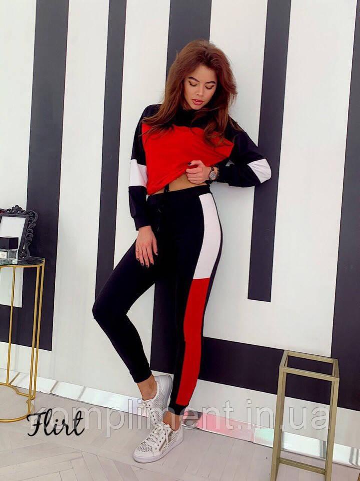 """Спортивный женский костюм """"Style"""", черно-красный"""