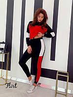 """Спортивный женский костюм """"Style"""", черно-красный, фото 1"""