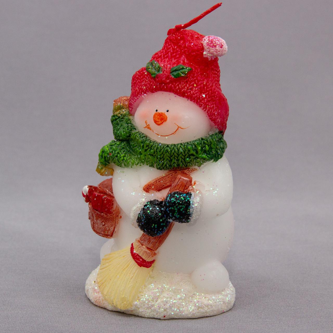 Свечка Снеговик с метлой, 11см (791002-2)