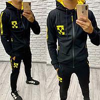 Мужской спортивный костюм черный+желтый 46 48 50 52