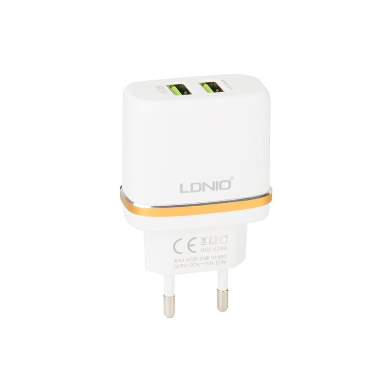 СЗУ 2USB LDNIO (2.4A) White + USB Cable iPhone 5 (DL-AC52)