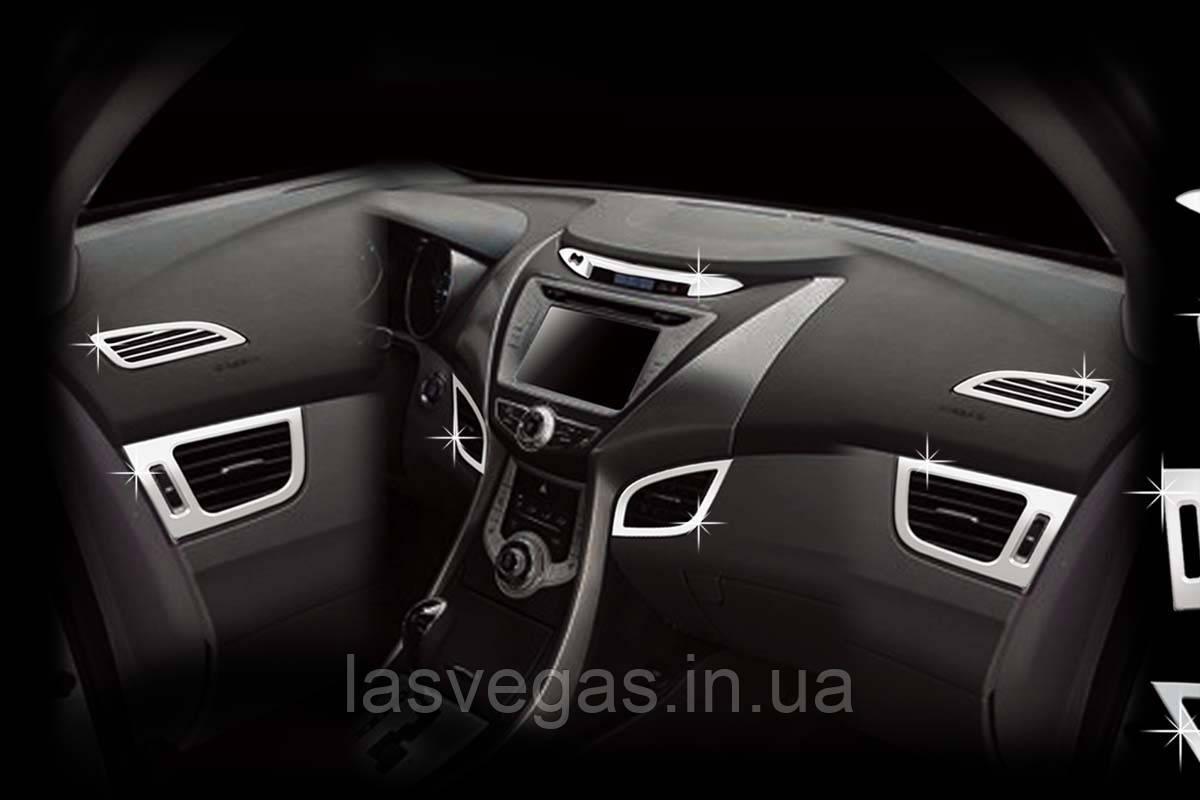 Хром накладки в салон Hyundai Elantra MD 2010-> / Avante MD (Autoclover C360)