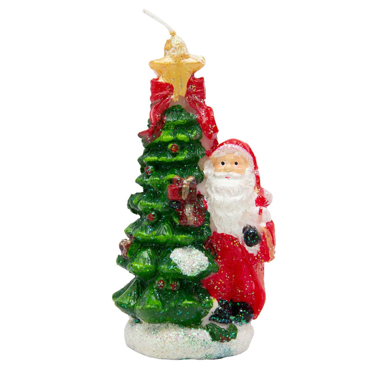 Свечка - Елочка и Дед Мороз, 5,7*4*10 см, зеленый с красным, воск (791156)