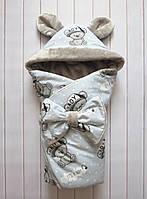 """Зимний конверт-одеяло на выписку для мальчика """"It's a boy"""" серый (махра)"""