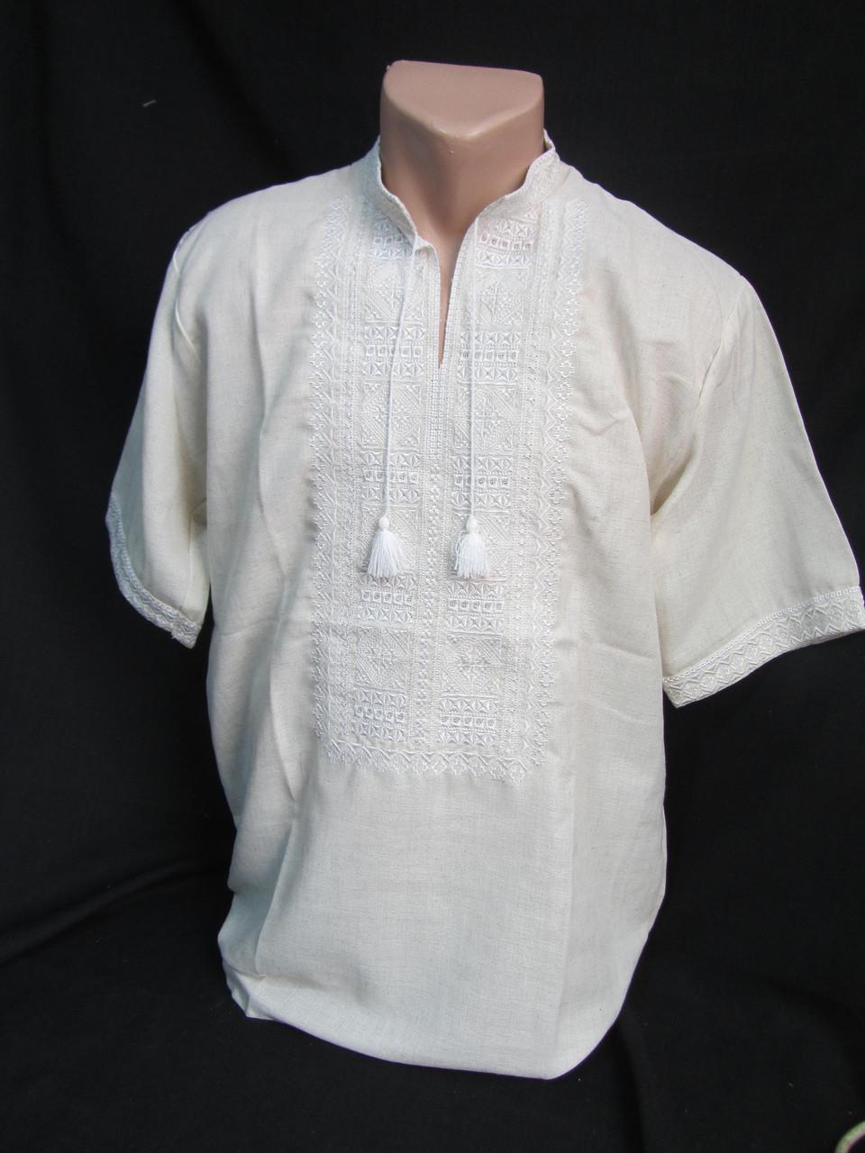 """Вышиванка  """"Квадраты"""", серое домотканое полотно, с коротким рукавом, 44-60 р-ры, 480/550 (цена за 1 шт.+70гр.)"""