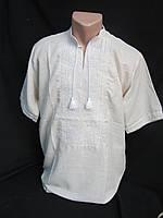 """Вышиванка  """"Квадраты"""", серое домотканое полотно, с коротким рукавом, 44-60 р-ры, 480/550 (цена за 1 шт.+70гр.), фото 1"""