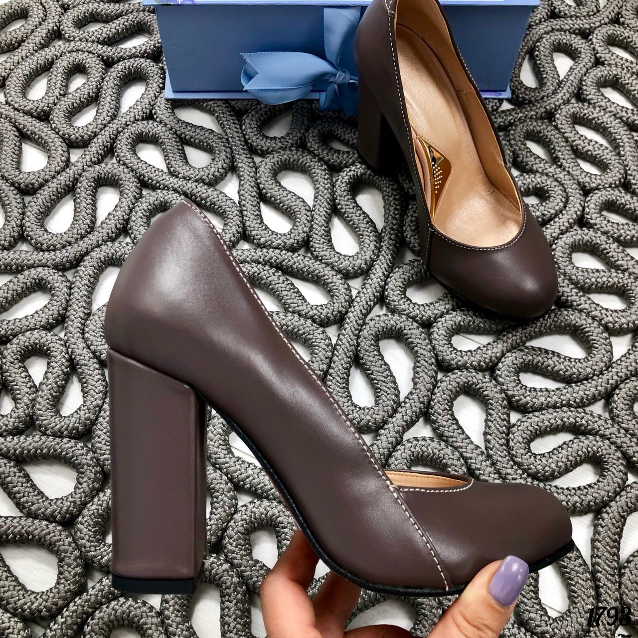 35 р. Туфли женские коричневые кожаные на высоком каблуке, из натуральной кожи, натуральная кожа