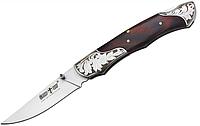 Нож складной с металлической и деревянной рукояткой, темно-коричневого цвета, с рисунком, стильный, практичный