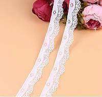 Кружево стрейч Лилия 3,5 см, белый