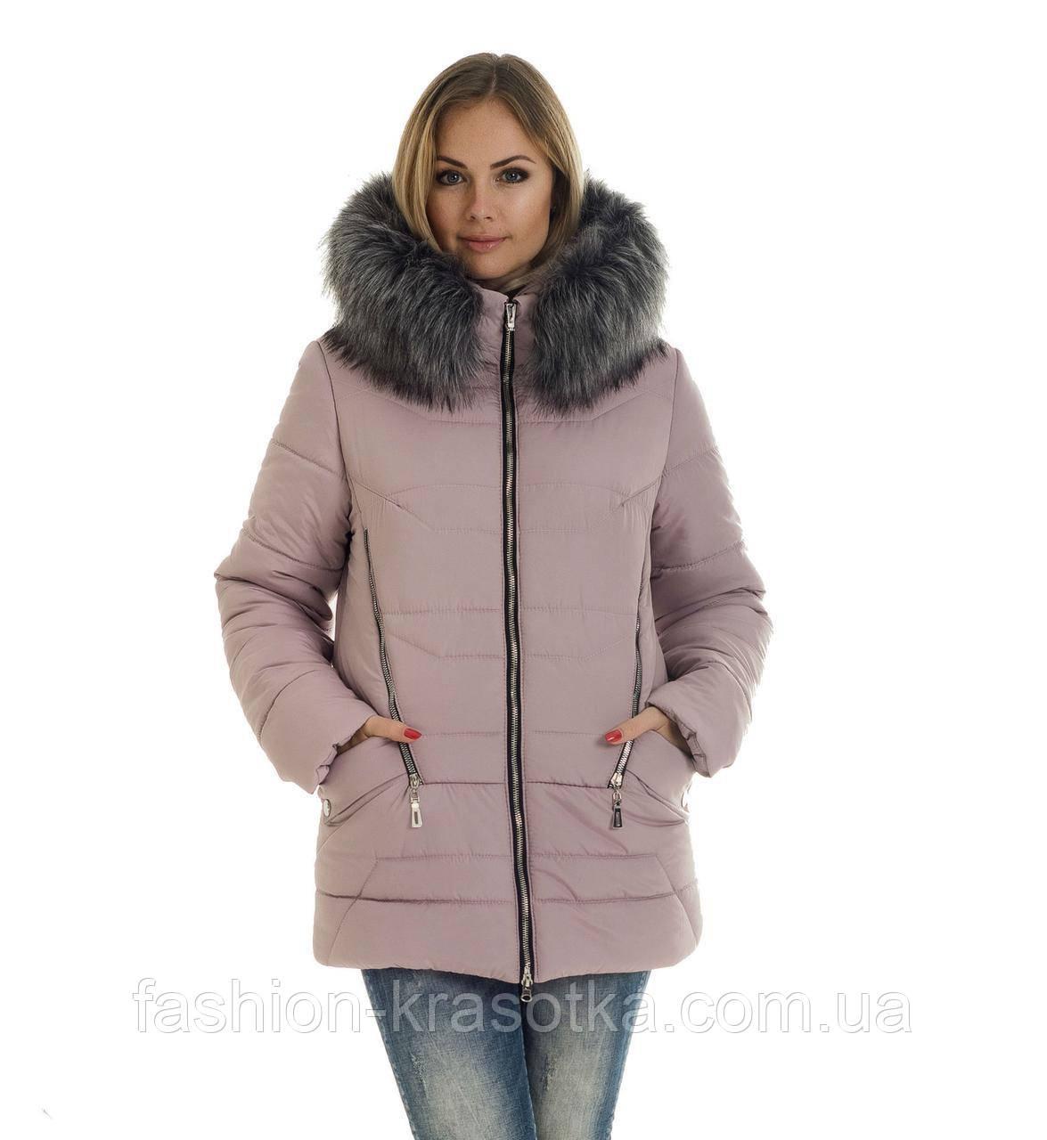 Молодёжная зимняя куртка из искусственным мехом