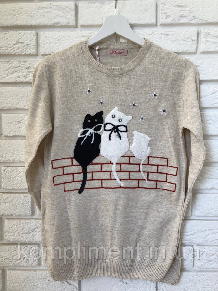 Женская кофточка тонкой вязки с рисунком коты,бежевый,Турция