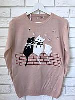 Женская кофточка тонкой вязки с рисунком коты,Турция, фото 1