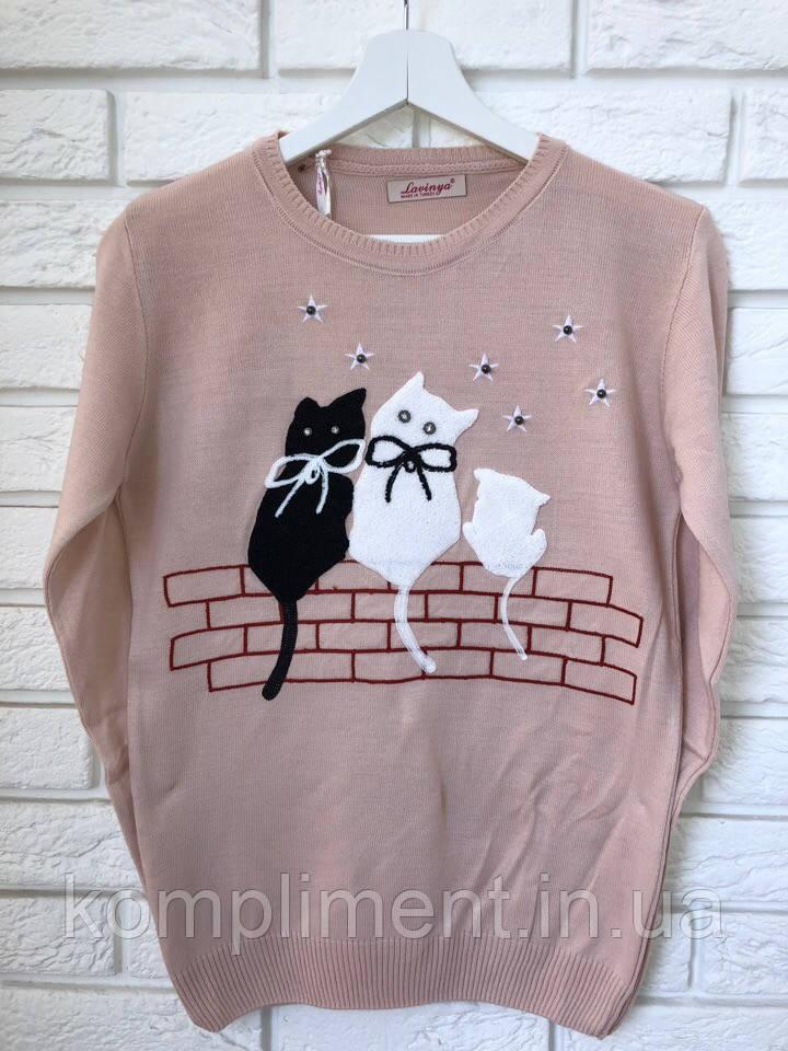 Женская кофточка тонкой вязки с рисунком коты,Турция