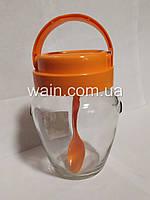Банка стеклянная 580 мл с пластиковой оранжевой крышкой и ручкой для сыпучих Everglass Амфора, фото 1