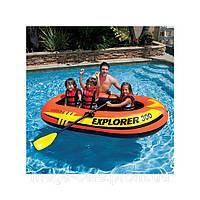 Надувная двухместная детская лодка интекс Intex 211x117x41см: весла, насос