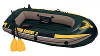 Двухместная надувная лодка интекс Intex 236х114х41см: весла, ручной насос