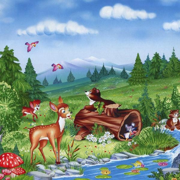 Фотообои,  детские, дитячі Веселый ручей, 15 листов, 242 x 201cm