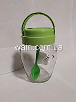 Банка стеклянная 580 мл с пластиковой салатовой крышкой и ручкой для сыпучих Everglass Амфора