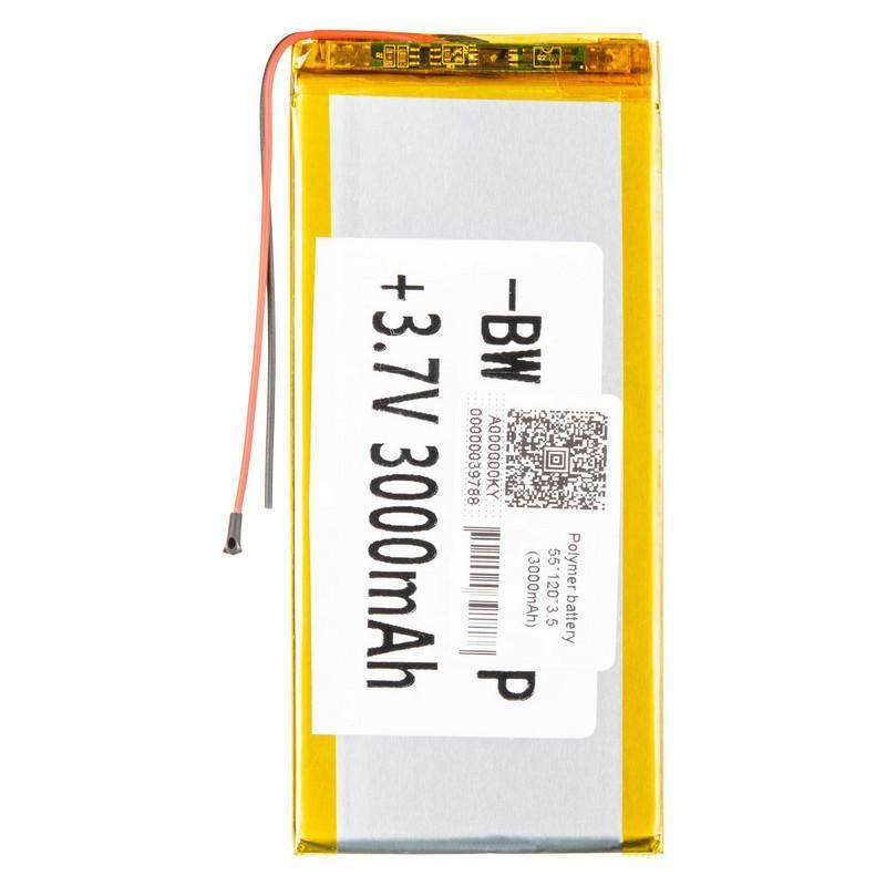 Полимерный универсальный аккумулятор  55*120*3.5 (3000mAh)