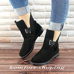 Ботинки женские черные замшевые  V 1213