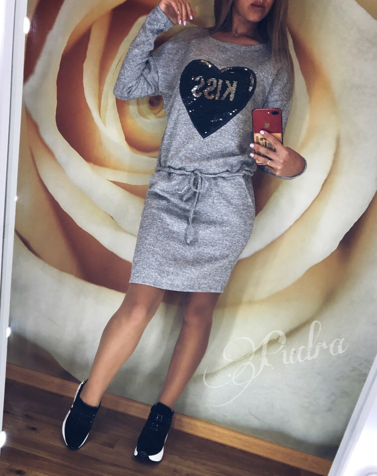 Теплое платье туника футляр ангора софт с карманами + Пайетки