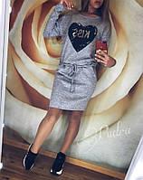 Теплое платье туника футляр ангора софт с карманами + Пайетки, фото 1